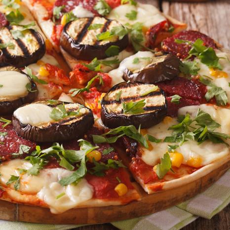 Salami Eggplant Pizza