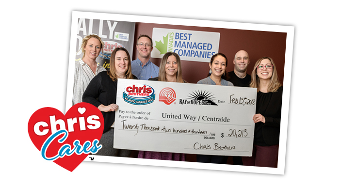 Chris Brothers-Donation-United Way Cheque-2018